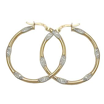Hoop two-tone earrings 9k gold
