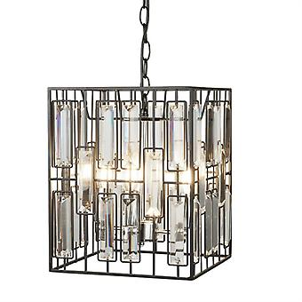 Borg Black Metal Cube Pendant With Bevelled Glass - Searchlight 7454-4bk