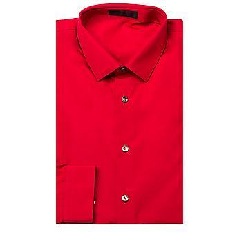 Prada Men's Spread Collar Cotton Dress Shirt Red