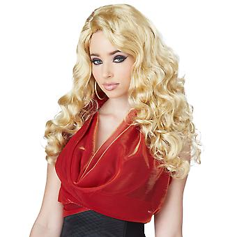 Shockwaves Glamour Celebrity Star Long Blonde Wavy Bangs Womens Costume Wig