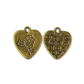Packet 8 x Steampunk Antique Bronze Tibetan 19mm Heart Charm/Pendant ZX11115