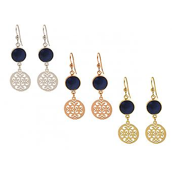 GEMSHINE ladies earrings with Mandalas and blue sapphires of excellent quality. Earrings. Made in Madrid, Spain. In the elegant gift box.