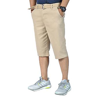 Mens Relaxed fit Belted Casual chino shorts Khaki