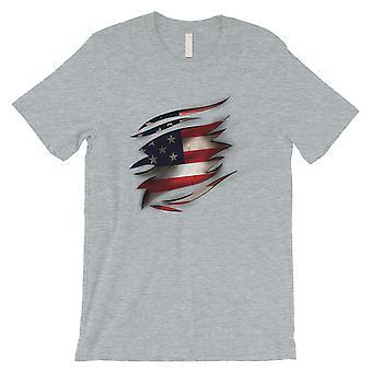 Amerikanische Flagge Riss Mens lustige 4. Juli Shirt Geschenk T-Shirt Grau