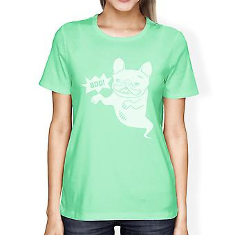 Boo French Bulldog Womens Mint Round Neck Funny Halloween Tshirt