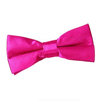 Hot Pink Plain Satin Pre-Tied Bow Tie for Boys