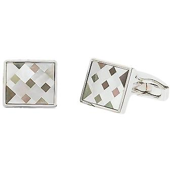 Simon Carter Mother of Pearl Cubist Mosaic Cufflinks - Grey/White/Silver
