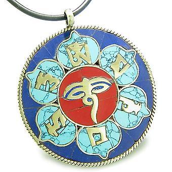 Amulet Tibetan Mantra Om Mani Padme Hum Buddha All Seeing Eye Turquoise Lapis Lotus Necklace
