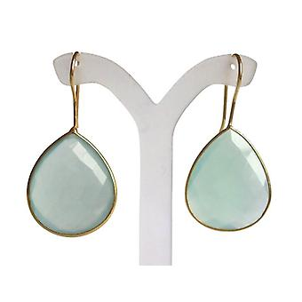 Chalcedony earrings gemstone earrings delicate green gold plated
