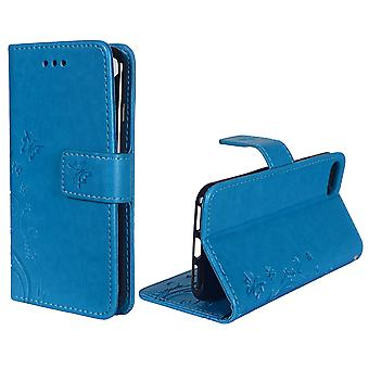 Fleurs de housse de protection pour téléphone Apple iPhone 8 bleu