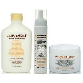 Mixed Chicks Deep Conditioner, Sulphate Free Shampoo and Morning After Redefining Foam Set