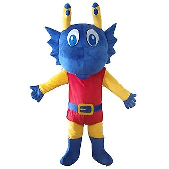 SPOTSOUND of blue, yellow and red dragon mascot dressed as a Knight