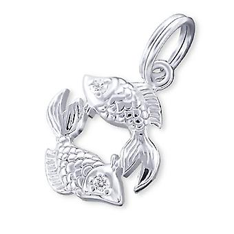 Pisces Zodiac Sign - 925 Sterling Silver Charms With Split Ring - W20002x