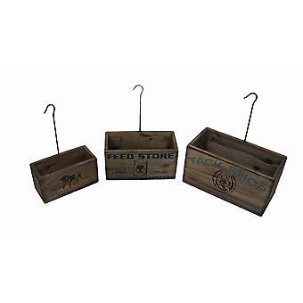 Conjunto de 3 Look Vintage aninhamento Tack Shop plantador caixas com cabides