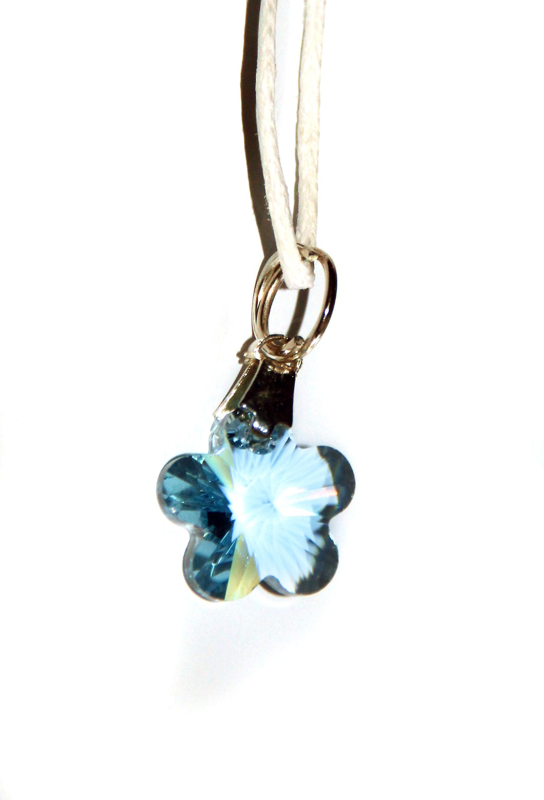 Waooh - Jewelry - Swarovski / pendant blue flower and waxed cord