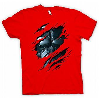 Womens T-shirt - Batman Suit - Superhero Ripped Design