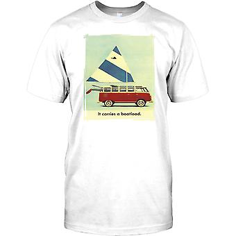 VW Campervan - It Carries A Boatload - Retro Poster Mens T Shirt