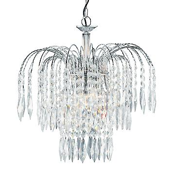 Searchlight 4173-3 Waterfall Chrome 3 Light Ceiling Pendant