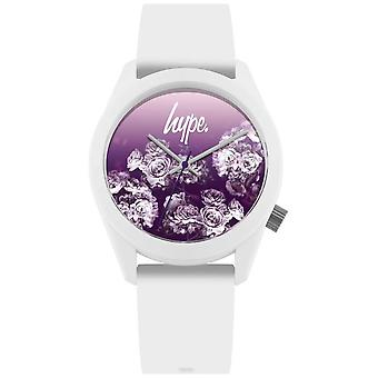 Hype | White Silicone Strap | Purple Flower Dial | HYU010WV Watch