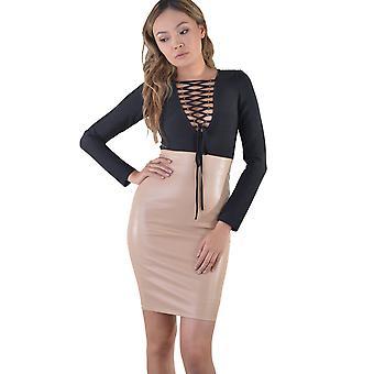 LMS cuir Nude Look robe avec contraste haut à manches longues