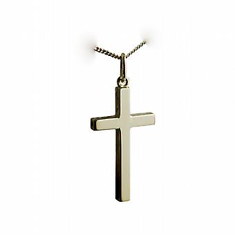 18ct yellow gold 25x15mm plain solid block Cross with a curb chain
