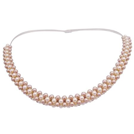 Champagne Ivory Pearls Interwoven Choker Classy Necklace