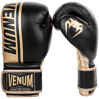 Venum Shield Pro Hook & Loop Leather Boxing Gloves - Black/Gold