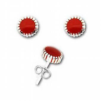 The Olivia Collection Sterling Silver Red Enamel 6mm Stud Earrings