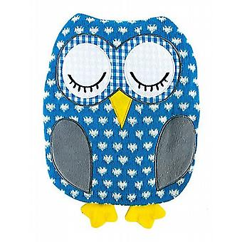 Large Knitted Owl Microwavable Cushion: Blue