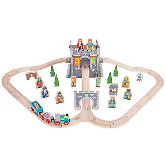 Bigjigs Rail Wooden Medieval Train Track Play Set with Accessories Compatible
