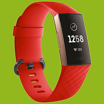 Para Fitbit Charge 3 pulsera plástica/silicona para mujer/tamaño S red Watch