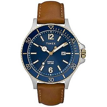 Timex | Men's | Indiglo Harborside | Blue Dial | Tan Leather | TW2R64400D7PF Watch