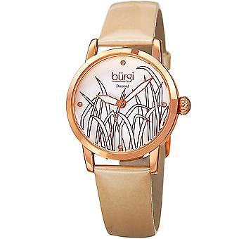 Burgi Women's Diamond Reed Design Dial Rose-Tone/Cream Leather Strap Watch BUR173GLD