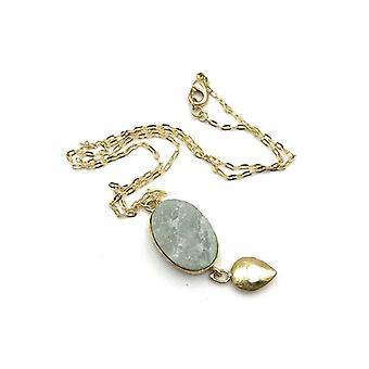 Handmade Druzy Drop Layered Clavicle Gemstone Pendant Necklace