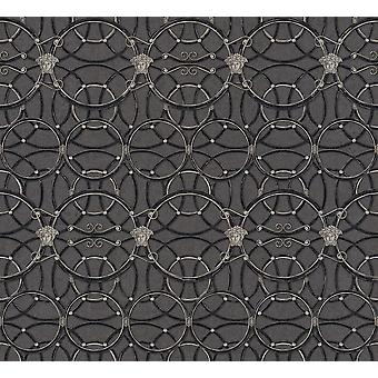 Versace Heritage Black Silver Wallpaper Medusa Ornament Metallic Paste Wall