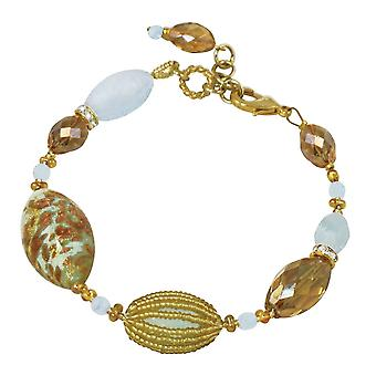 Eternal Collection Floriana Powder Blue And Gold Venetian Murano Glass Bracelet