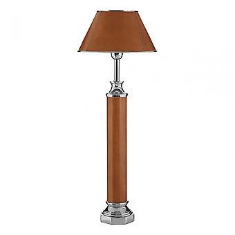 Premier Home Churchill Table Lamp, Aluminium, Brass, Leather, Iron, Steel, Brown
