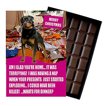 Rotweiler Funny Christmas GiftFor Dog Lover Boxed Chocolate Greeting Card Xmas Present