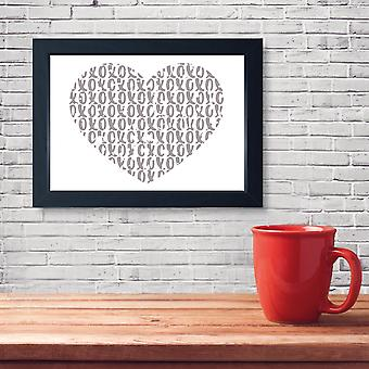 Distressed Heart XOXO, Quality Framed Print - Home Bedroom Love Dressing