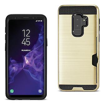 Reiko Samsung Galaxy S9 Plus Slim Armor Hybrid Case With Card Holder In Gold
