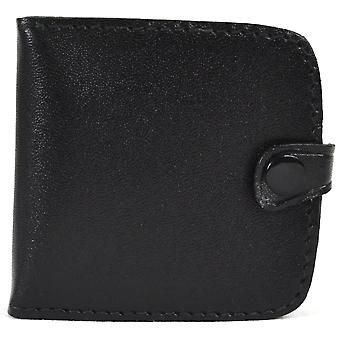 Real Leather Pocket Sized Money Tray Purse with Note Slots (Black)