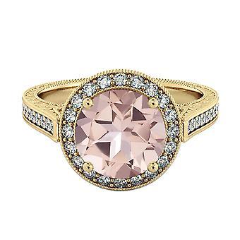 14K Yellow Gold 2.60 CTW natural peach/pink VS Morganite Ring with Diamonds Halo Filigree