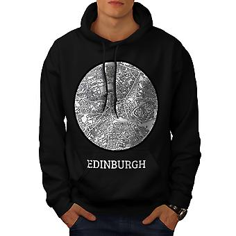 Edinburgh Map Old Fashion Men Black Hoodie | Wellcoda