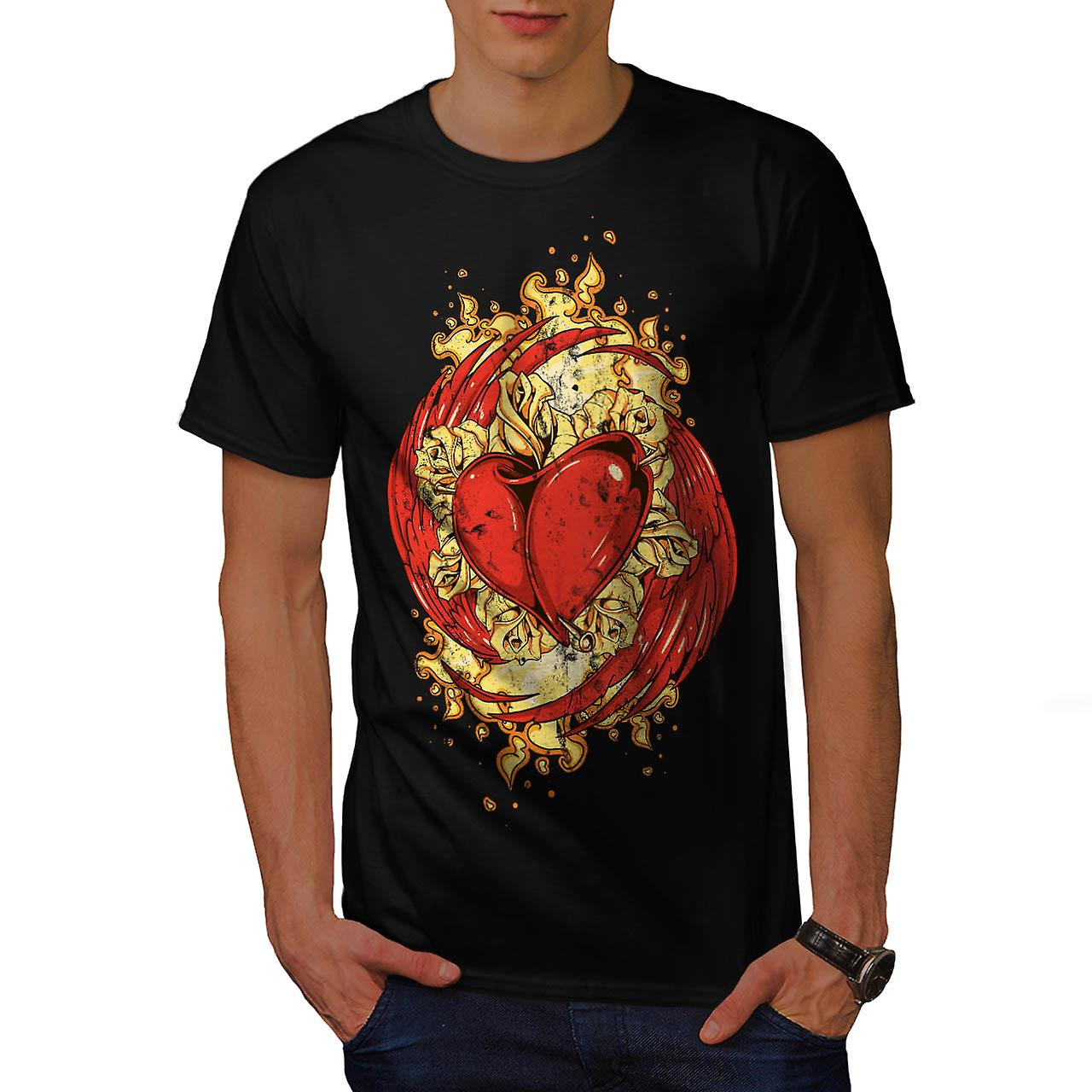 Love Heart Wing Lust Beat Organ Men Black T-shirt | Wellcoda