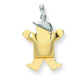 14k Two-Tone Gold Puffed Boy with Hat on Right Engraveable Charm - 2.5 Grams