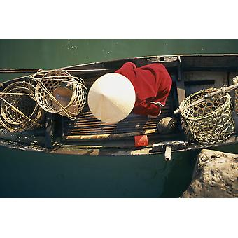View From Above Of Vietnamese Woman In Conical Hat In A Boat PosterPrint