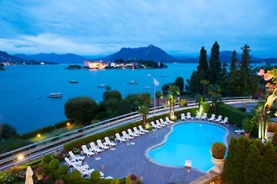 Aerial view of a swimming pool at hotel Villa e Palazzo Aminta Isola Bella Stresa Lake Maggiore  Poster Print by Panoramic Images (36 x 24)