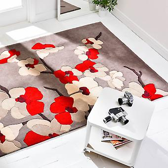 Blossom infini tapis Taupe et rouge