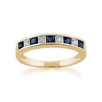 9ct giallo oro 0,40 ct zaffiro naturale & Diamond mezza eternità fedina