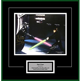 Star Wars - Signed by Mark Hamill and David Prowse Movie Photo in Framed Case